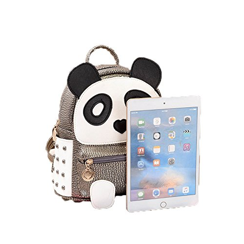 H&N Fashion PU Rivet Bronze Mini Casual Style Panda Backpack/ Shoulder/ Book Bag by H&N (Image #8)