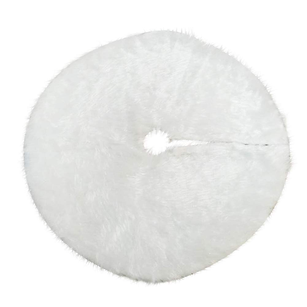 St. L'amour Christmas Tree Skirt White Faux Fur Plush Christmas Tree Skirt 31.5/47.2 Inches Hotel Home Decoration