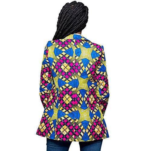 Print Dwon African Jacket Clothing Sleeve Workwear Women Coat Turn Warm Outwear Rcdxing Collar Long Blazer Blue Yellow qU1tHYpW