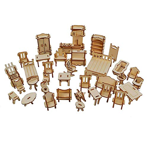 BOHS 32 pcs Laser Cut -Dollhouse Furnitures -Wooden 3D Puzzle -Miniature Models Doll House Furnishing DIY Accessories Handcraft Toys ()