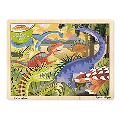 Melissa & Doug Dinosaurs Wooden Jigsaw Puzzle With Storage Tray (24 pcs): Melissa & Doug: Toys & Games