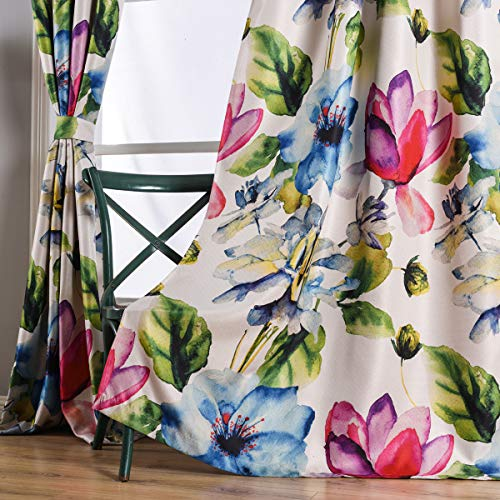 Taisier Home Stylish Living Elegant Abstract Colorful Curtains Printed,Colorful Flower Curtain Printed,Fashion Curtain 84 Inch Lenth for Bedroom(Floral Print Curtain 1 Piece Set) (Flower Curtains)