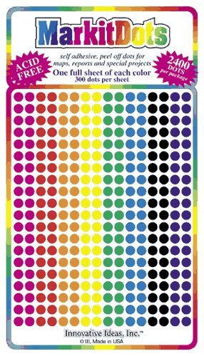 "Map Dot Stickers - Assorted Colors - 1/8"" Diameter"
