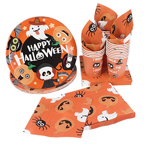 (Hemoton Halloween Party Supplies - Disposable Dinnerware Set Includes Halloween Paper Plates and Napkins,Cups for Appetizers, Lunch, Dinner, and Desserts - Eco Friendly Party Tableware Set(24)