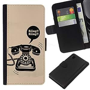 iBinBang / Flip Funda de Cuero Case Cover - Anello rotante Vintage Phone fisso poster - Sony Xperia Z1 L39H