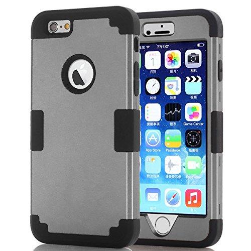 Hocase Sandwich Series Protective Case for Apple iPhone 6/6s - Gunmetal Grey / - Black Gunmetal