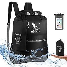 RUNACC Sac à Dos étanche 20 l Flottant avec étui étanche pour téléphone pour Plage, Kayak, Camping, Bateau, Natation…