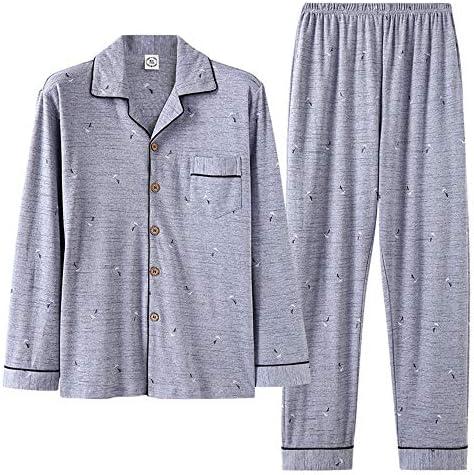 メンズパジャマ メンズコットンパジャマのズボンロングスリーブカーディガンシンプルなパジャマセットメンズパジャマセット 上下 セット 春 秋 (Color : B, Size : XXL)