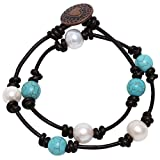 Bohemian Cultured Freshwater Pearl and Reconstituted Turquoise Bracelet Handmade Genuine Leather 2 Strands Bracelet for Girls Women 14''