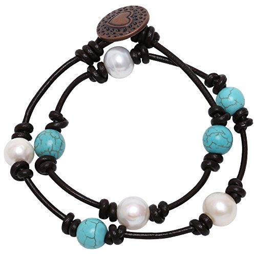 Genuine Double Strands Turquoise Necklace - Bohemian Cultured Freshwater Pearl and Reconstituted Turquoise Bracelet Handmade Genuine Leather 2 Strands Bracelet for Girls Women 14''
