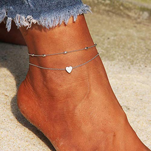 Heart Anklet Ankle Bracelet - Artmiss Layered Anklets Women Heart Silver Ankle Bracelet Charm Beaded Dainty Foot Jewelry for Women and Teen Girls Summer Barefoot Beach Anklet