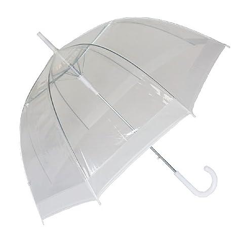 Susino Paraguas Automatico Transparente en forma de cupula con borde blanco