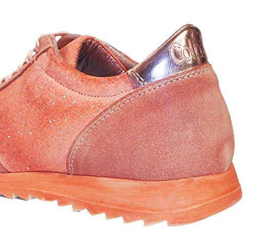 Colpatua Leder Low Top Sneaker Schnürschuhe apricot Glitzer