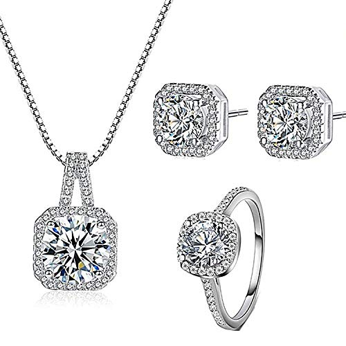 (Majesto 925 Silver Necklace Pendant Halo Cushion Cut Ring Size 5 Bridal Engagement Jewelry Set for Women)