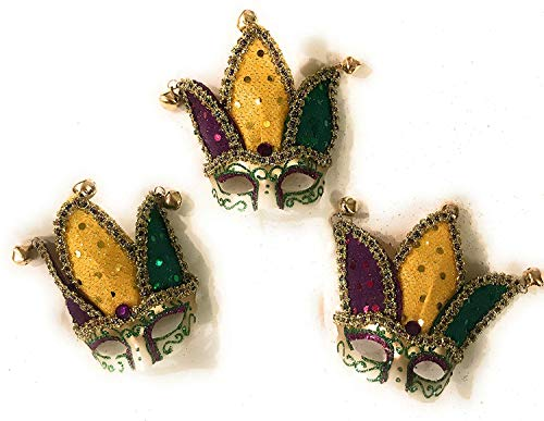 Mardi Gras Mini Jester Mask Magnets, 3 Pack NEW ORLEANS Ornament Decor