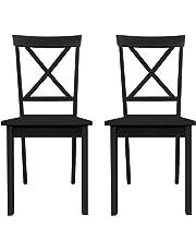 Furniture 247 - Set de 2 sillas de comedor, negro