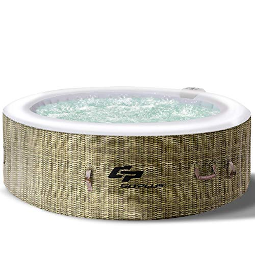 Goplus 4-6 Person Outdoor Spa Inflatable Hot Tub for Portable Jets Bubble Massage Relaxing with Accessories Set (6-Person, Coffee) (Best Small Hot Tub)