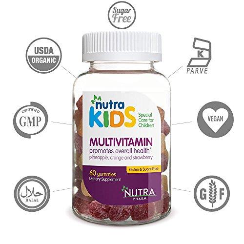 Nutra Kids Multivitamin Gummies - 60 Gummies in Pineapple, Orange and Strawberry Flavor - PECTIN BASED - GELATIN FREE - SUGAR FREE - GLUTEN FREE