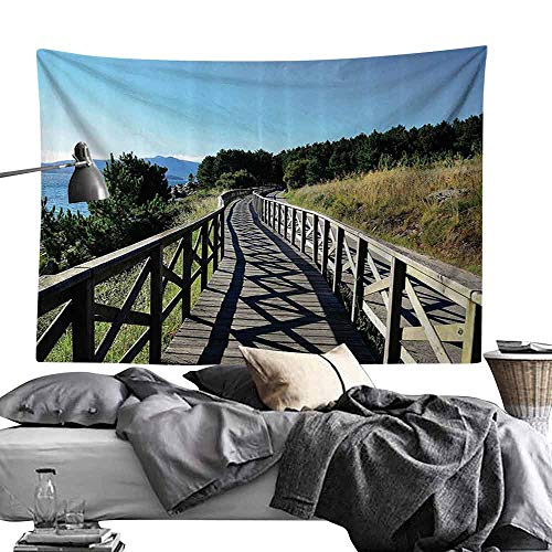 (Homrkey Bedroom Tapestry Seaside Decor Collection Wooden Pathway by The Sea Bridge Placid Quiet Alone Time Plants Tree Healing Print Hippie Tapestry W84 x L54 Green Brown Blue)