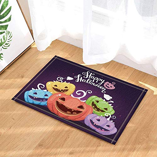 Creative Halloween Happy Colorful Pumpkin Bath Tub Non-Slip Non-Slip Floor Door, Doormat Outside, Bath Mat 15.7x23.21in, Bath Mat ()