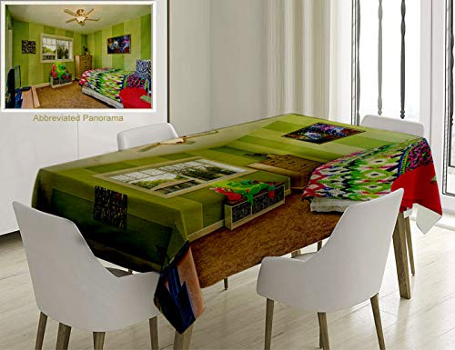 (Unique Custom Cotton And Linen Blend Tablecloth A Adorable Children Room With A Green Keynote Two Lovely Dolls Are On The Counter A Coloured Quilt On Tablecovers For Rectangle Tables, 86 x 55 Inches)