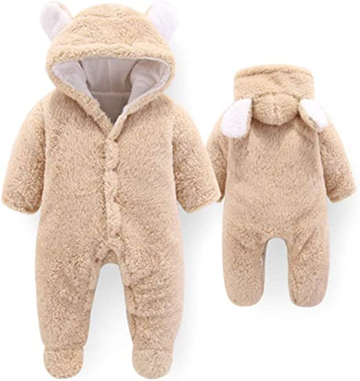 Infant Baby Boy Girl Flannel Fleece Hooded Romper Jumpsuit Winter Clothes Outfit