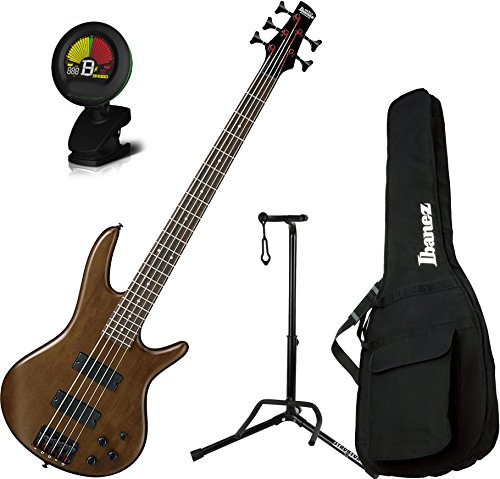 Ibanez GSR205BWNF 5 String Walunt Flat Finish Electric Bass with Gig Bag, Stand, and Tuner by Ibanez