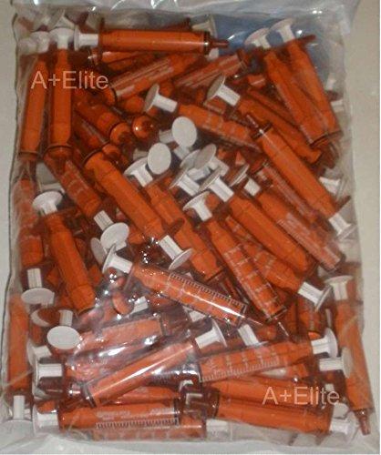 BAXA ExactaMed Oral Liquid Medication Syringe 5cc/5mL 100/PK Amber Medicine Dose Dispenser With Cap Exacta-Med BAXTER Comar Latex Free by Baxa