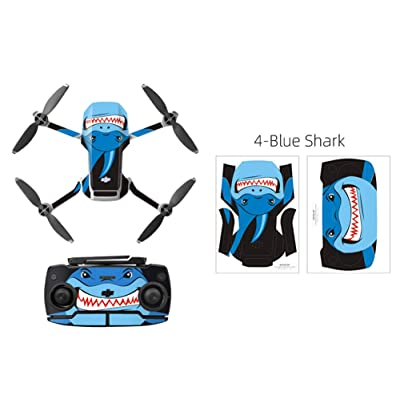 Rantow Shell Decoration Sticker Controller Decals Set for DJI Mavic Mini Drone Waterproof DIY Skin Decoration Drone Body Sticker (4- Blue Shark): Computers & Accessories