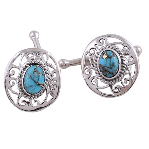Turquoise Sterling Silver Cufflinks (NOVICA Reconstituted Turquoise .925 Sterling Silver Cufflinks 'Calming Sky')