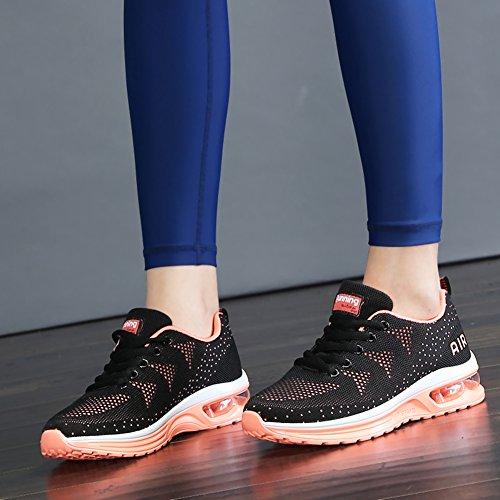 JARLIF Frauen Leichte Athletische Laufschuhe Atmungsaktive Sport Air Fitness Gym Jogging Turnschuhe Schwarzorange