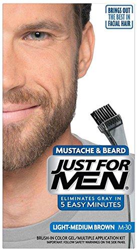 Just For Men Mustache & Beard Brush-In Color Gel, Light-Medi