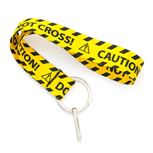 Buttonsmith Caution Tape Wristlet Lanyard - Short Length with Flat Ring and Clip - Made in The USA