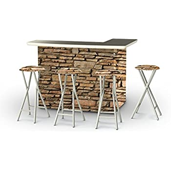 Best Of Times Portable Patio Bar Table With Stools, Rock Wall