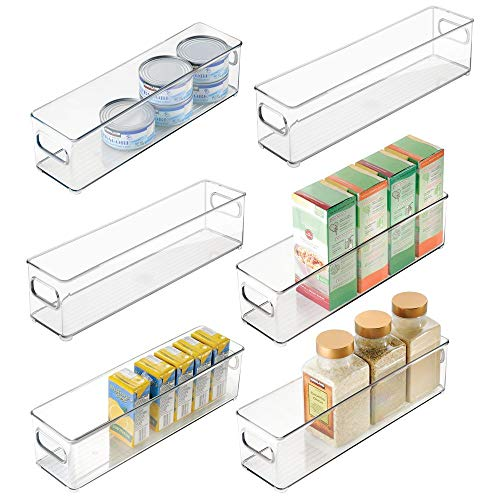 mDesign Plastic Stackable Food Storage Container Bin with Handles for Kitchen, Pantry, Cabinet, Fridge, Freezer - Long Narrow Organizer for Snacks, Produce, Vegetables, Pasta, 6 Pack - Clear