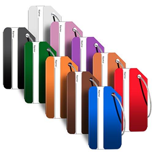 Aluminum Luggage Tags,Travel Luggage Tags Suitcase Luggage Bag Tags (Multicolor 10 Pack Set)