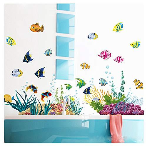 (MLM Submarine World Under The Sea Waterproof Removable Wall Art Sticker Art Decal Home Kid Room Bathroom Décor DIY)