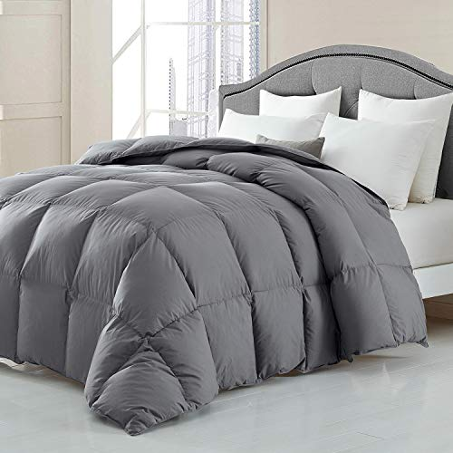HOMBYS Luxurious All Seasons Down Comforter and Goose Feather Duvet Insert Gray Queen Size Hypo-allergenic 50oz Fill Weight 100% Cotton Cover Down Proof with Corner Tabs - Down Comforter(Queen,Grey)
