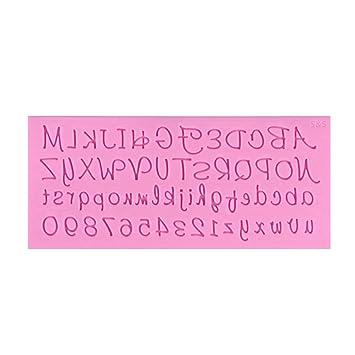 BESTONZON Letras inglesas molde de silicona hecho a mano Fondant herramienta de hornada de la decoración del molde de la torta de chocolate (rosa): ...