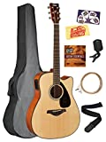 Yamaha FGX800C Solid Top Folk Acoustic-Electric Guitar - Natural Bundle with Gig Bag, Tuner, Strings, Strap, Austin Bazaar Instructional DVD, Picks, and Austin Bazaar Polishing Cloth