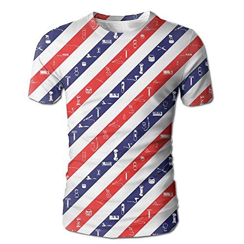 (HenSLK Men's Summer Barbershop Equipment Flag Casual Novelty Crew Neck Short Sleeve Shirt)