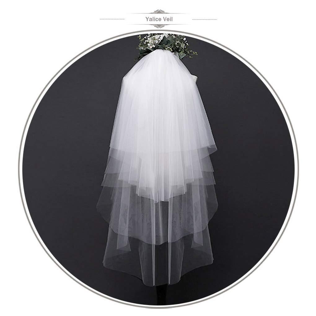 Yalice Women's MultiLayer Bride Wedding Veil Waist length Bridal Veil Ivory Soft Tulle Hair Accessories