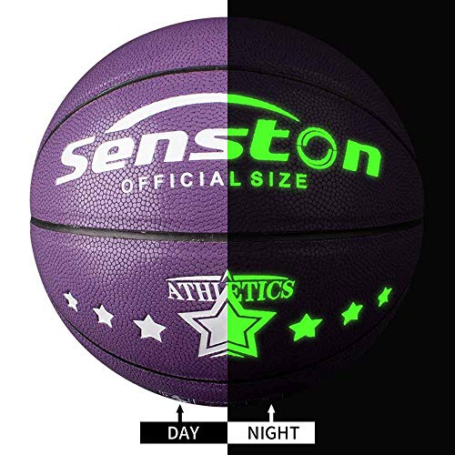 Senston Night Ball Basketball Youth Size 5, Glow in The Dark Basketball Ball for Kids Juniors, Toy Luminous Basketballs Purple