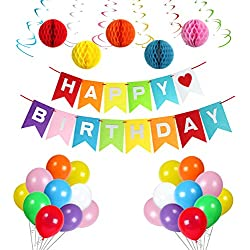 Rainbow Party Supplies By Treasures Gifted: Party Decorations with Happy Birthday Banner, Assorted Balloons, Hanging Swirls & Stylish Honey Comb Balls (Felt Banner)