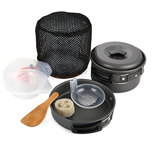 Camping Cookware Mess Kit Folding Cookset 8 Piece Lightweight Durable Pot Pan Bowls for Outdoor Backpacking Cooking Hiking Picnic (Traditional 8 Light Pot)
