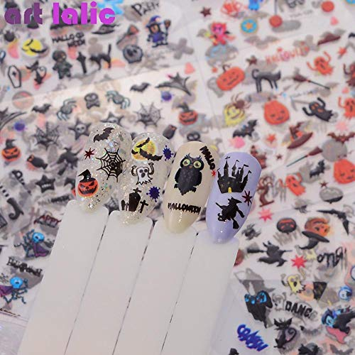 24 Sheet Halloween Design Beauty Nail Art Stickers Adhesive Transfer 3D Skull Pumpkin Spider Web Water Stickers Decals]()