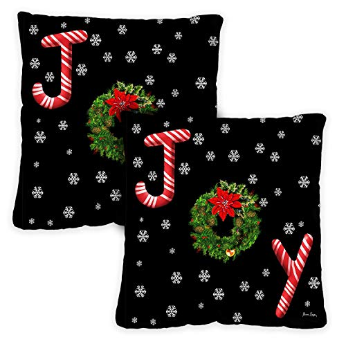 Toland Home Garden Decorative Joy Wreath Winter Holiday Christmas Xmas Snowflakes Text Quote Saying Word 18 x 18 Inch Pillow Case (2-Pack) from Toland Home Garden