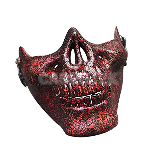 AMAZZANG-Costume Halloween Party Motorcycle Skeleton Half Face Masks Scary Skull Mask #6 (Saw Devil I The)
