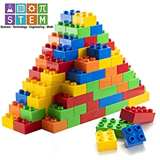 Prextex 150 Piece Classic Big Building Blocks Compatible with All Major Brands STEM Toy Large Building Bricks Set for All Ages