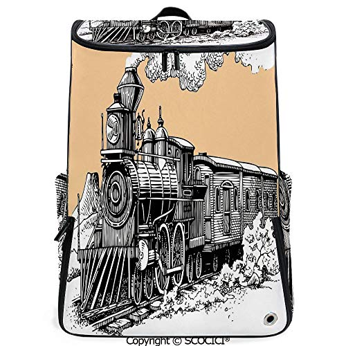 SCOCICI 3D Printed Backpack,Vintage Wooden Train Rail Wild West Wagon in Countryside Drawing Effect Artsy,Peach White,Funny Personalized Graphics